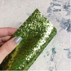 Отрез ткани с крупным глиттером, 35х50 см, цвет зеленый