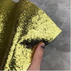 Отрез ткани с крупным глиттером, 35х50 см, цвет зеленоватый золотой