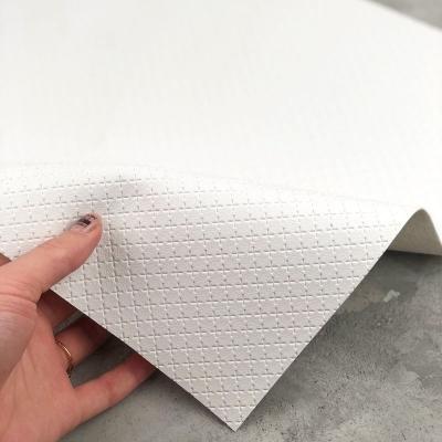 Отрез кожзама на тканевой основе в крестик, 34х45 см, цвет белый