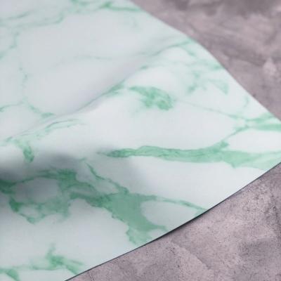 Отрез кожзама на тканевой основе, 34х45 см, мрамор зеленый