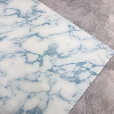 Отрез кожзама на тканевой основе, 34х45 см, мрамор голубой