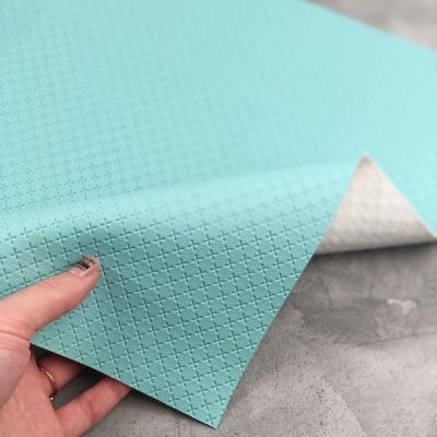 Отрез кожзама на тканевой основе в крестик, 34х45 см, цвет бирюзовый