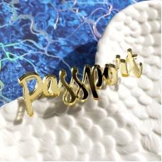 Надпись из золотого акрила Passport, 7х2,5 см