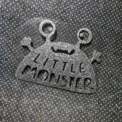 Надпись из термотрансфера с глиттером Little Monster, цвет серебро, 12х9,5 см