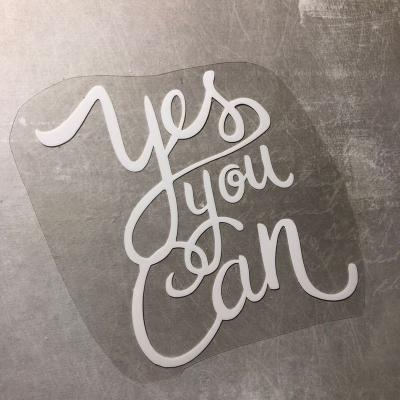 Надпись из белого термотрансфера Yes you can,9,5х9,5 см