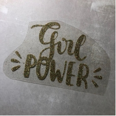 Надпись из термотрансфера с глиттером Girl power, цвет зеленоватое золото, 12,7х8,1 см