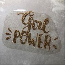 Надпись из термотрансфера с глиттером Girl power, цвет золото, 12,7х8,1 см