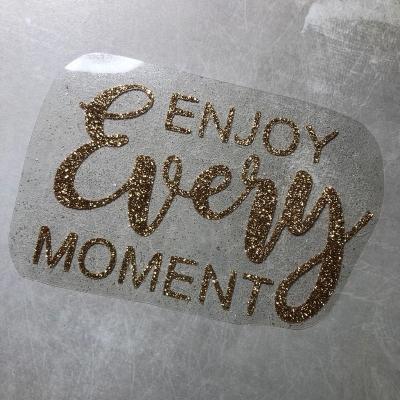 Надпись из термотрансфера с глиттером Enjoy every moment, цвет золото, 13х8,2 см
