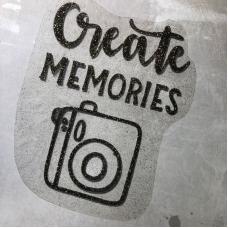 Надпись из термотрансфера с глиттером Create memories, цвет черное золото, 12,2х15,2 см
