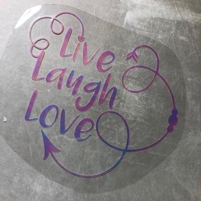 Надпись из термотрансфера с отливом Live Laugh Love, 13х11 см