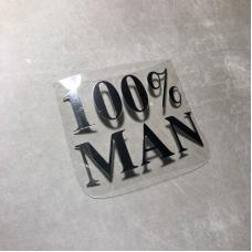Надпись 100% man из зеркального термотрансфера, цвет серебро, 6,5х4, 7 см