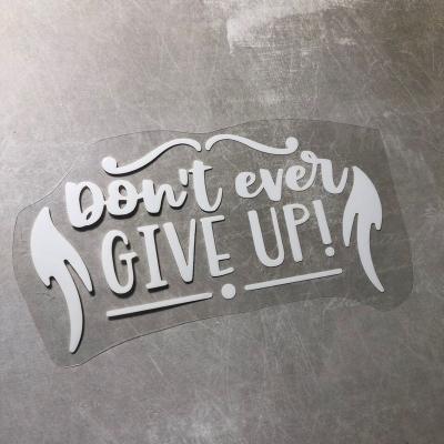 Надпись из белого термотрансфера Don't ever give up