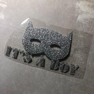 Надпись из серебряного термотрансфера c глиттером Бемтен it's a boy, 11х6,5 см
