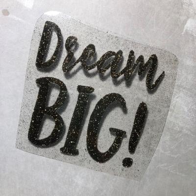 Надпись из термотрансфера с глиттером Dream big, черное золото, 9,5х9 см