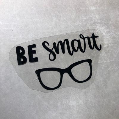 Надпись из черного термотрансфера Be smart, 10,2х5,7 см