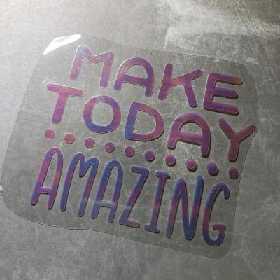 Надпись из термотрансфера с отливом Make today amazing, 11,3х9 см