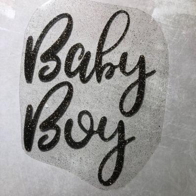 Надпись из  термотрансфера с глиттером Baby Boy, цвет черное золото, 11х14см