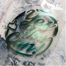 Надпись из зеркального термотрансфера Yes, You Can! с лайком, 10x10,2 см, цвет мятный