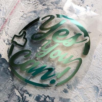 Надпись из золотого зеркального термотрансфера Yes, You Can! с лайком, 10,7x9,2 см
