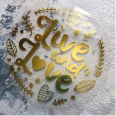 Надпись из золотого зеркального термотрансфера Live and Love, 12,5х12 см
