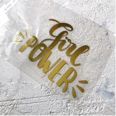 Надпись из золотого зеркального термотрансфера Girl power, 12х8 см