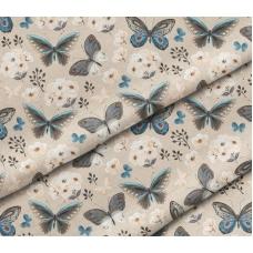 Отрез польского премиум-хлопка, 40х50 см, бабочки на бежевом