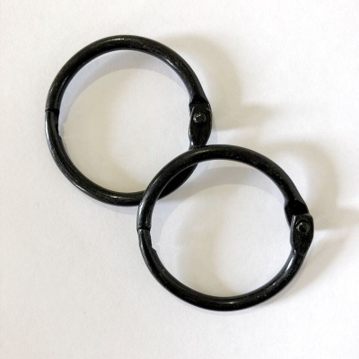 Кольца разъемные 25 мм, чёрный, пара