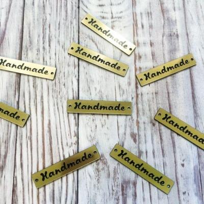 """Табличка """"Handmade"""" золотая 1"""