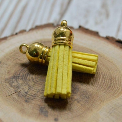 Кисточка замша 40 мм, ярко-желтый