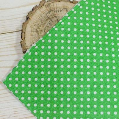 Хлопок зеленый в белый горох 50х50 см
