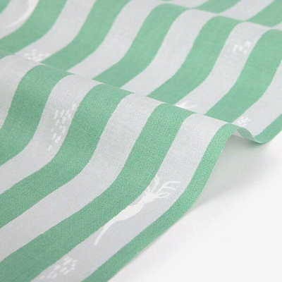 Отрез хлопка DailyLike 75х45 белый в зелёную полоску
