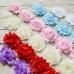 Шифоновые цветы кружево, 3 цветка, красный