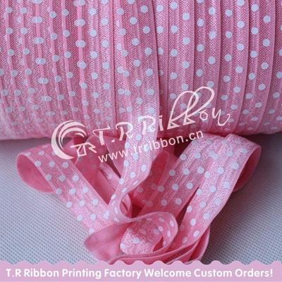 Резинка 15 мм Розовый в белый горошек