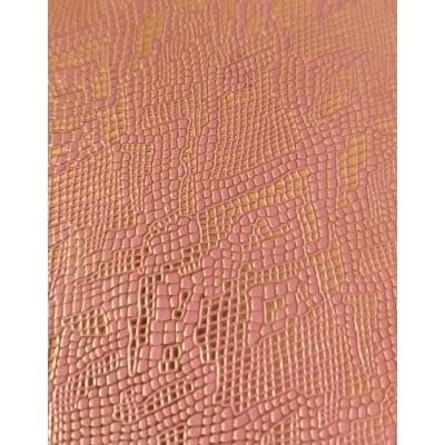 Кожзам на тканевой основе светло-розовый питон с золотом 33х70 см