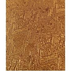 Кожзам на тканевой основе коричневый питон с золотом 33х70 см