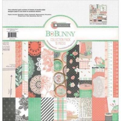 "Набор бумаги BoBunny  ""Pincushion Collect Pack"" 19 двусторонних лист. (18 листов и один лист со стикерами) 30х30см"
