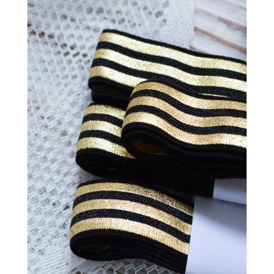 Резинка 16 мм черная с золотыми полосками
