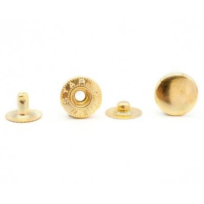 Кнопка Альфа (сталь) 12,5 мм, золото, 100шт.