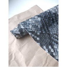 Кожзам на тканевой основе черно-серый переплет, отрез 34х45 см