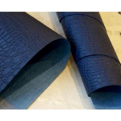 Переплетный кожзам темно-синий под кожу крокодила 35х50 см