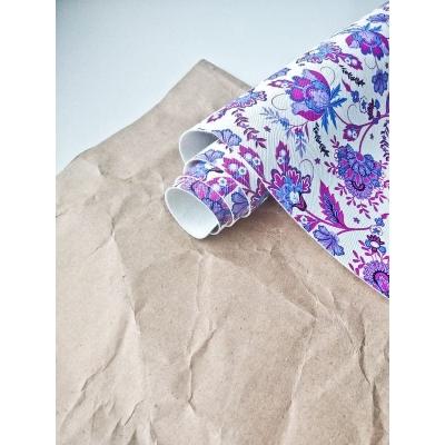 Кожзам на тканевой основе с фиолетовыми цветами 34х45 см