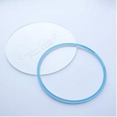 Акриловый круг, Cristina Petrova, голубой глиттер, 10см