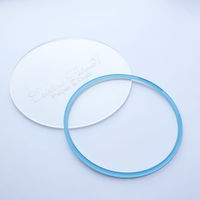 Акриловый круг, Cristina Petrova, голубой глиттер, 14см