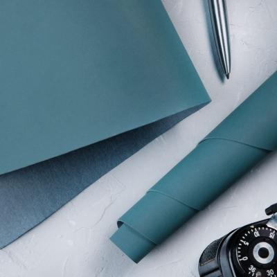 Переплетный кожзам матовый ниагарский синий без тиснения 35х50 см