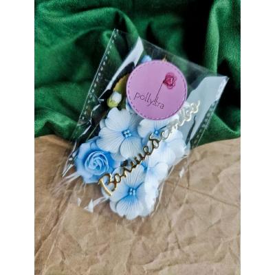 Набор цветов с розой, голубой
