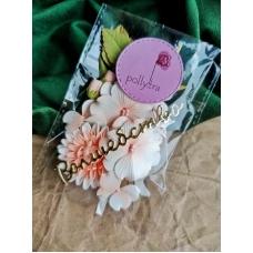 Набор цветов Polly.tra с хризантемой, персиковый