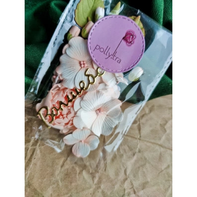 Набор цветов с пионом, персиковый
