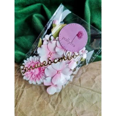 Набор цветов с хризантемой, розовый