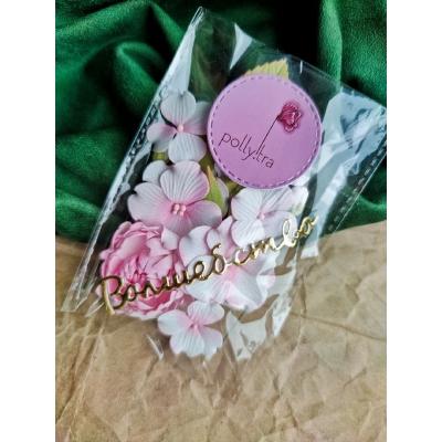 Набор цветов с пионом, розовый