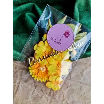 Набор цветов с хризантемой, желтый